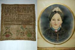 Vintage Antique Mary Snelbaker Hayes Ohio 1839 Alphabet Sampler Painting And Shawl