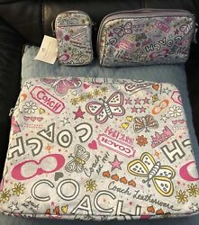 Coach Computer Bag With Makeup Case And Small Phone Case