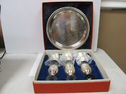 Leonard India Epns Silverplated Tray 6 Toasting Cups V Good Cond