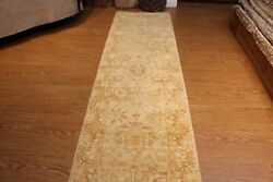 12 Ft. Hall Runner Fine Quality handmade hand-knotted beige-light-blue-green