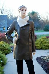 Yves Salomon Army Womenand039s Leather Sheep Skin Shearling Winter Coat Sz 7andnbsp Nwot