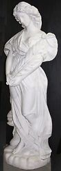 Beautiful Italian Carrara Hand Carved Marble Life Size Woman Flowing Hair