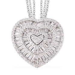 White Cubic Zirconia CZ Triple Strand Heart Chain Pendant Necklace for Women 20