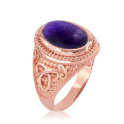 10K Rose Gold Celtic Triquetra Purple Amethyst Cabochon Ring