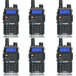 6 Pack Baofeng Uv-5r Dual Band Two Way Radio Walkie Talkie With Flashlight