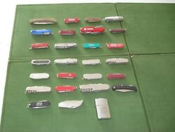 Collection Of 26 Pocket Knives And 1 Lighter Used Condition.