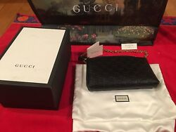 Gucci Signature Wrist Wallet With Chain Black Leather *AUTHENTIC*NEW*NEVER WORN*