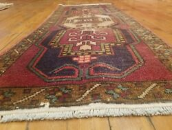 Beautiful Vintage 1950-1960's Tribal Cushion Cover Face Wool Pile Rug 1'5×3'4