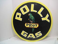 Old Metal Polly Gas Service Station Motor Oil Man Cave Tin Sign