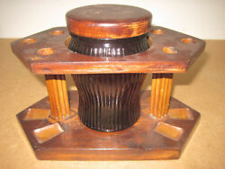 Vintage Wood 6 Pipe Amber Glass Humidor And Table Pipe Stand Nice