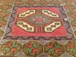 Beautiful Antique 1930-1940's Tribal Cushion Cover Wool Pile Rug 1'9''x 3'1''