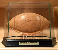 Vince Lombardi Bart Starr & Packers Team Signed Wilson NFL Leather Football PSA