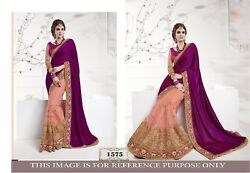 Party Wedding Women Fashion Designer Embroidery Bridal Indian Saree Sari 1575