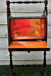 Antique Vintage Wooden Tobacco Keep Humidor Copper Lined Smoking Stand Table