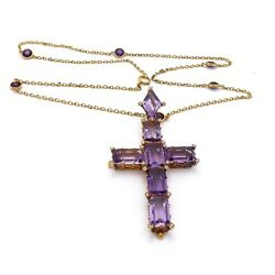 Victorian 14k Gold 28ctw Amethyst Seed Pearl Large Cross Pendant Necklace