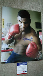 Mike Tyson Signed Autograph 11x14 Psa Boxing Kid Dynamite And Iron Inscriptions