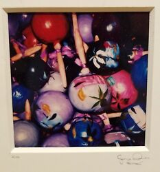 Colorful Original Photograph Of Cluster Of Hand Painted Maracas Signed On Mat