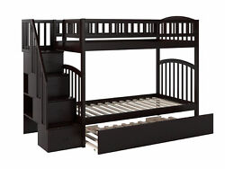 Westbrook Staircase Bunk Twin Over Twin With Twin Size Urban Trundle Bed In W...