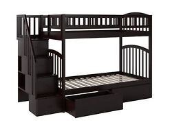 Westbrook Staircase Bunk Twin Over Twin With 2 Urban Bed Drawers In White
