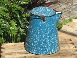 Vintage Blue And White Crackle Granite-ware Coffee Pot Boiler -- Cowboy Coffee Pot