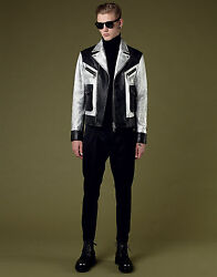 3495 Authentic Dsquared2 Men's Black Silver Metallic Leather Jacket Sold Out