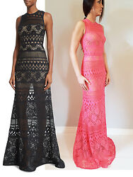 5495 Authentic Elie Saab Womenand039s Maxi Sleeveless Crocheted Column Gown Dress
