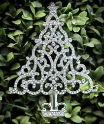 5.20ct NATURAL ROUND DIAMOND 14K SOLID WHITE GOLD CHRISTMAS TREE BROOCH PIN