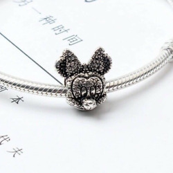 Sparkle Disney Heads - Minnie - European Charm With Pink Gift Pouch- Silver Tone