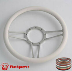 14and039and039 Billet Steering Wheels White Half Wrap Dodge Challenger Charger Daytona Gto
