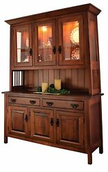 Amish Dining Room Arts And Crafts Hutch China Cabinet Solid Wood