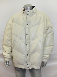 Menand039s Sean John Vintage Off White Quilty 100 Genuine Leather Jacket