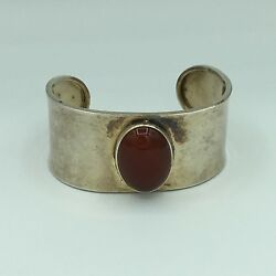 Sterling Silver And Agate Cuff Bracelet 31.9 Grams Marked 925 Mexico