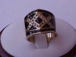 Incredible Works Of Art Deco 14k Yellow Gold Ring.50ct Diamond And Enamel Ring