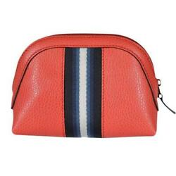GUCCI Women's Coral Red Web Stripe Small Leather Cosmetic Travel Case Bag 33955