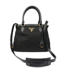 Prada Bauletto Women's Handbag 1BA173 Black Nylon Baguette Designer Satchel Bag