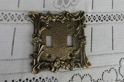 Rare Vintage Brass 2 Switch Wall Plate cover intricate pattern new old stock