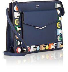 Fendi Mini Bag 2Jours Small Rainbow Collection Calf Leather Navy Blue Crossbody