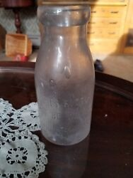 Very Old Pint Milk Bottle Bubbled Glass