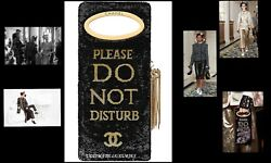 CHANEL DO NOT DISTURB BLACK SEQUIN LTD EDITION RUNWAY CLUTCH HANDBAG BAG NEW