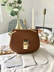 Chloe Drew Small Crossbody Shoulder Bag grain lambskin in Caramel