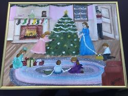 LOT Of 2  folk art Jacklyn Marie Adelfio original paintings Christmas Theme.