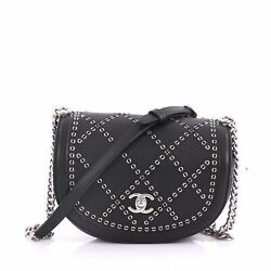 Chanel Coco Eyelets Round Flap Bag Quilted Calfskin Small