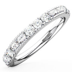 0.65ct Round And Baguette Cut Diamonds Half Eternity Ring Wedding Ring In 18k Gold