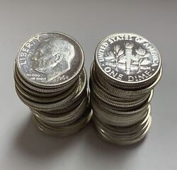 1962-p Roll Of 50 Roosevelt Silver Dimes Proof