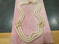 Vtg TRIFARI Signed Sim Pearl 3 Strand Jeweled 24