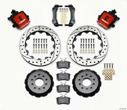 Wilwood Combination Parking Brake Rear Kit 12.88in Drilled Red For Mustang 94-04