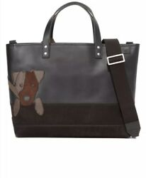 Jack Spade Jack Russell Leather Coal Bag And  Portfolio (Jack Russell Portrait)