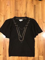 Designer Black Sweater With Chain Necklace XS