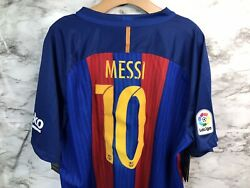 Rare Nike Fc Barcelona Home Soccer Jersey Messi 10 2016 Nwt Sz 2xl Red/blue