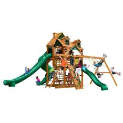 NEW Gorilla Playsets Great Skye II with Malibu Wood Roof & Amber Posts Swing Set